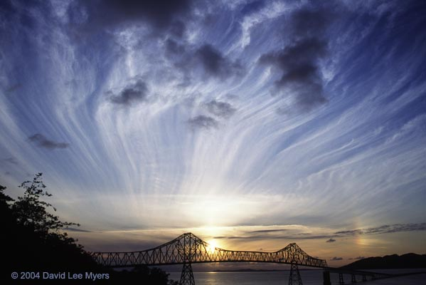 Columbia River and Megler Bridge from Astoria Oregon with streamer clouds