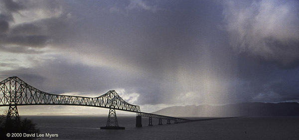 Columbia River and Megler Bridge from AStoria Oregon with stormy skies