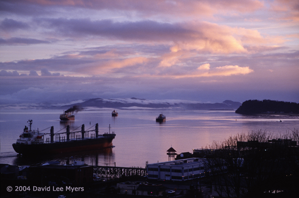 Freighters on Columbia River at dawn from Astoria Oregon